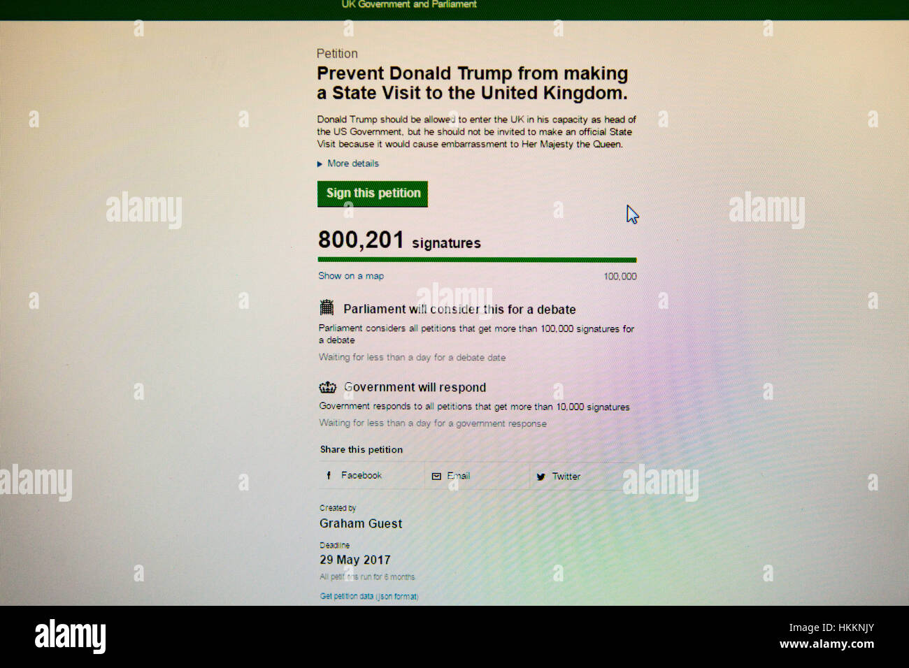UK. 29th January, 2017. A petition with over 800,000 signatures to prevent Donald Trump from making state visit - Stock Image