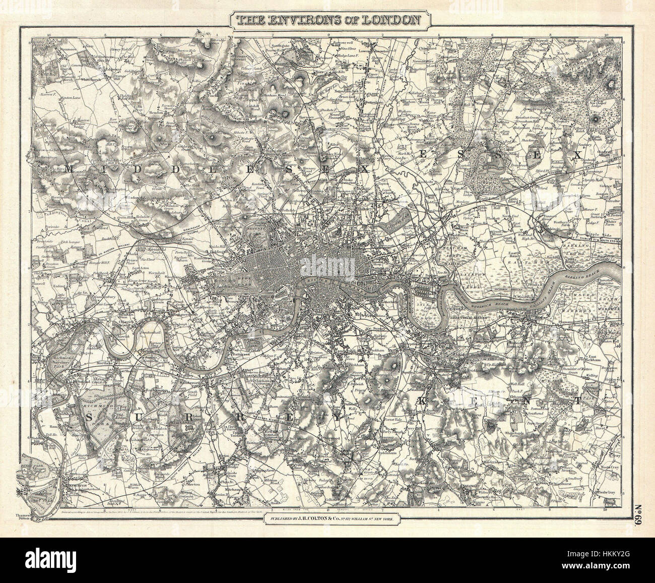 1855 Colton Map of London, England - Geographicus - London-cbl-1855 - Stock Image