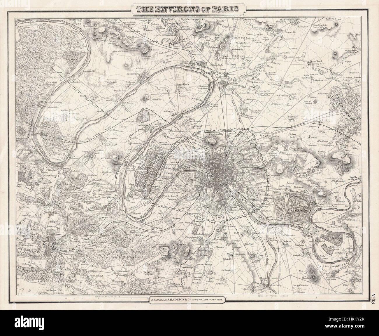 1857 Colton Map of Paris, France - Geographicus - Paris-cbl-1855 - Stock Image