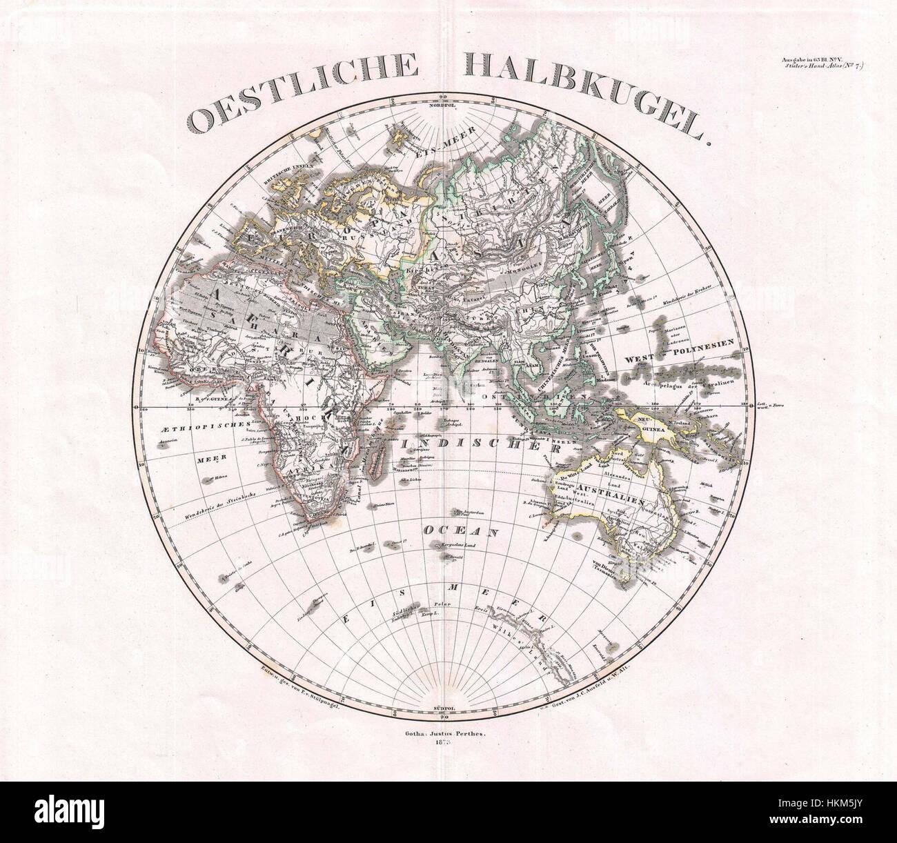1873 Stieler Map of the Eastern Hemisphere (Europe, Africa, Asia ...