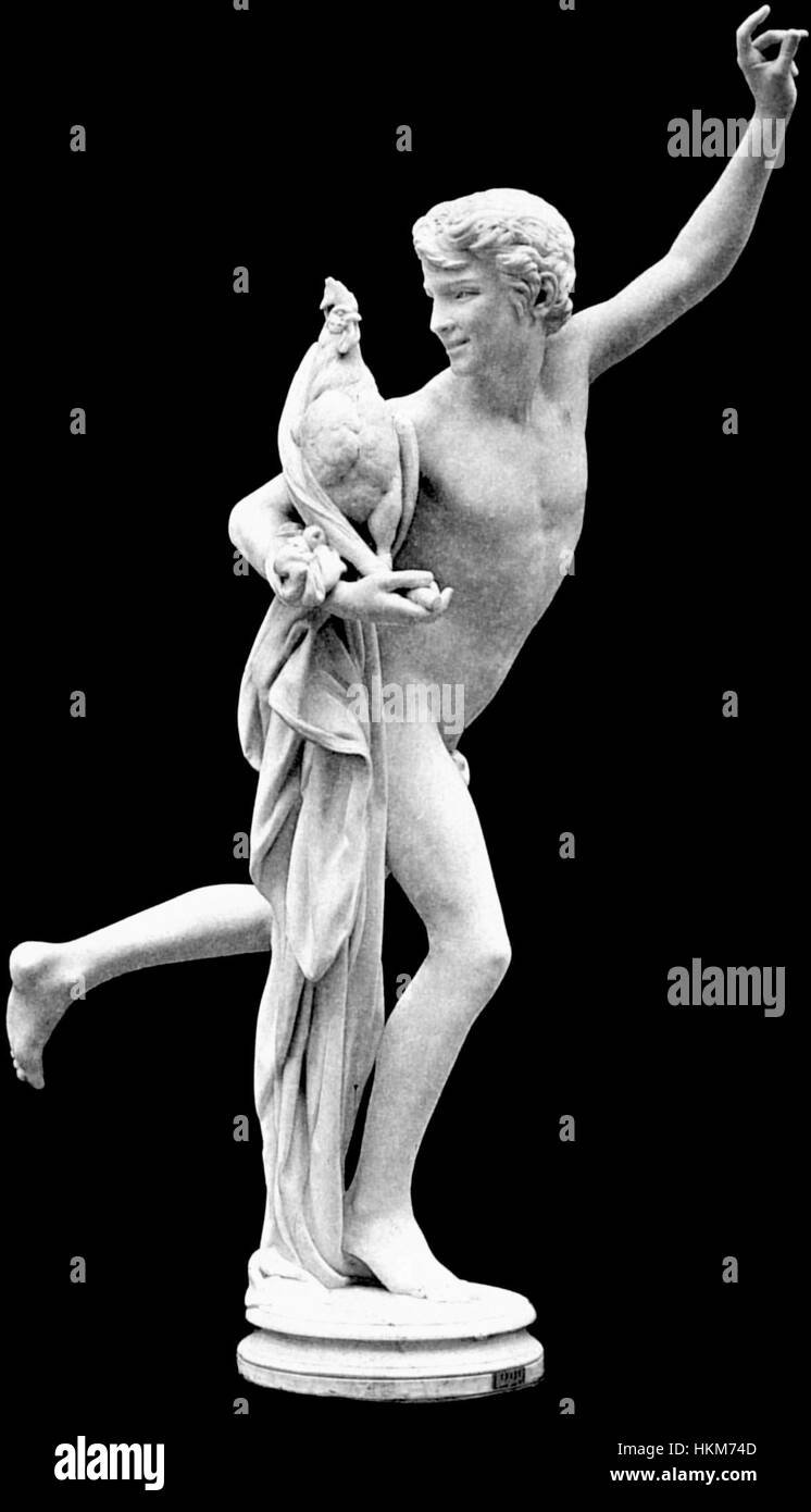 Alexandre falguiere's statue winner of the cockfight version with long drape vbig - Stock Image