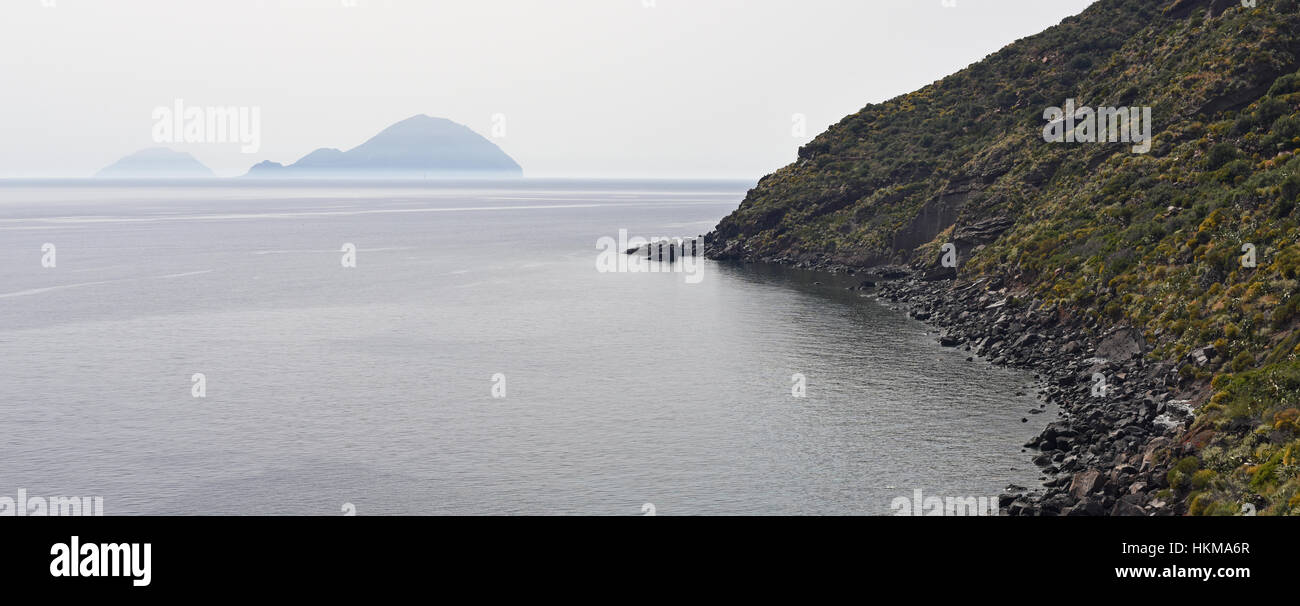 View of Filicudi and Alicudi from Salina, Aeolian Islands - Stock Image