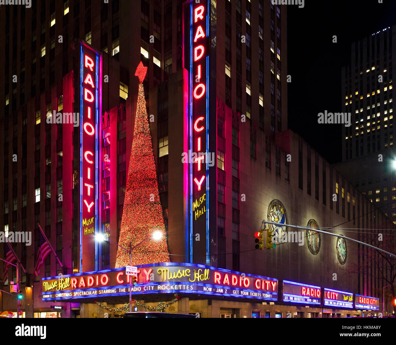 Radio City Music Hall, New York City. Radio City Music Hall, Rockefeller Center, Avenue of the Americas, Midtown - Stock Image