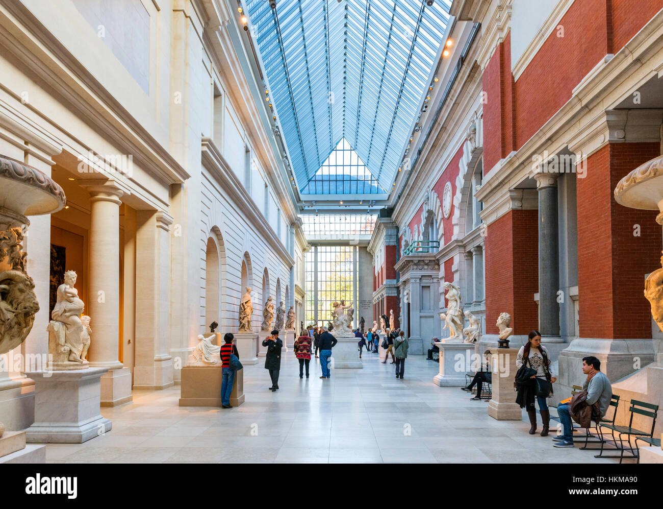 Metropolitan Museum of Art, New York. The Charles Engelhard Court at The Metropolitan Museum of Art, 5th Avenue, - Stock Image
