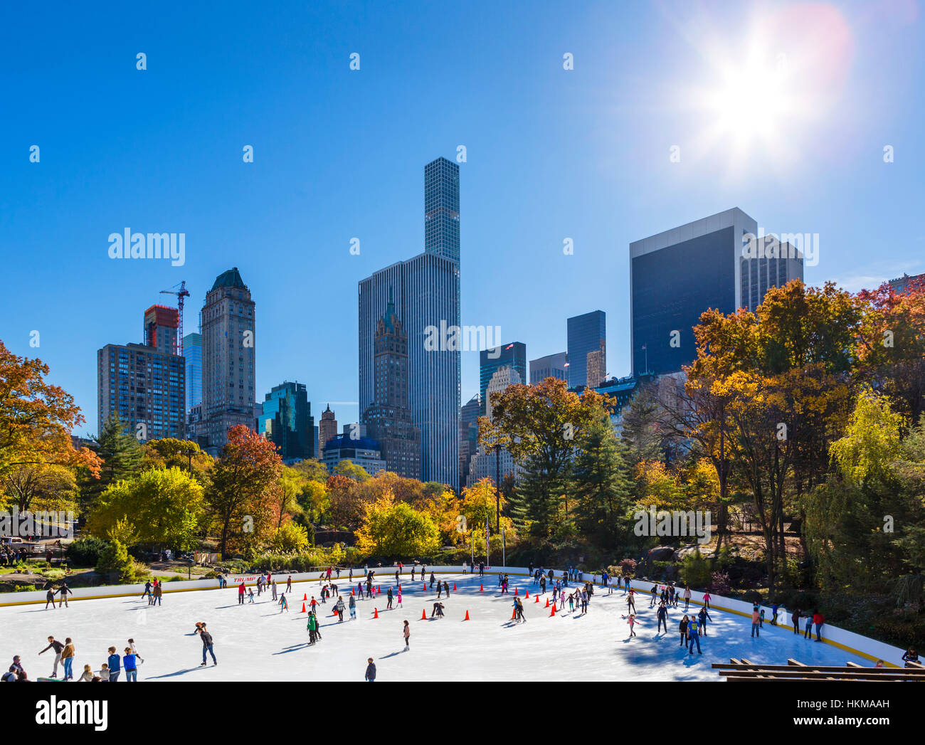 Central Park, New York City. The Wollman Ice Rink in the fall, Manhattan, NY, USA Stock Photo