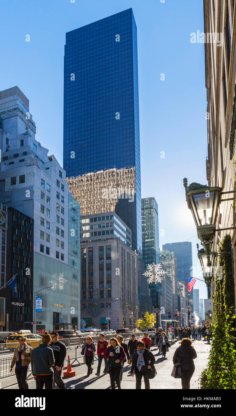 Trump Tower, 5th Avenue, New York City. View down Fifth Avenue towards Trump Tower, Midtown Manhattan, New York - Stock Image
