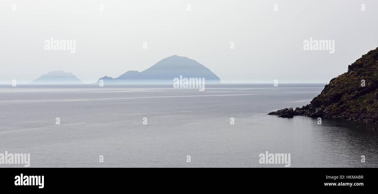 View of Filicudi and Alicudi from Salina, Aeolian Islands Stock Photo