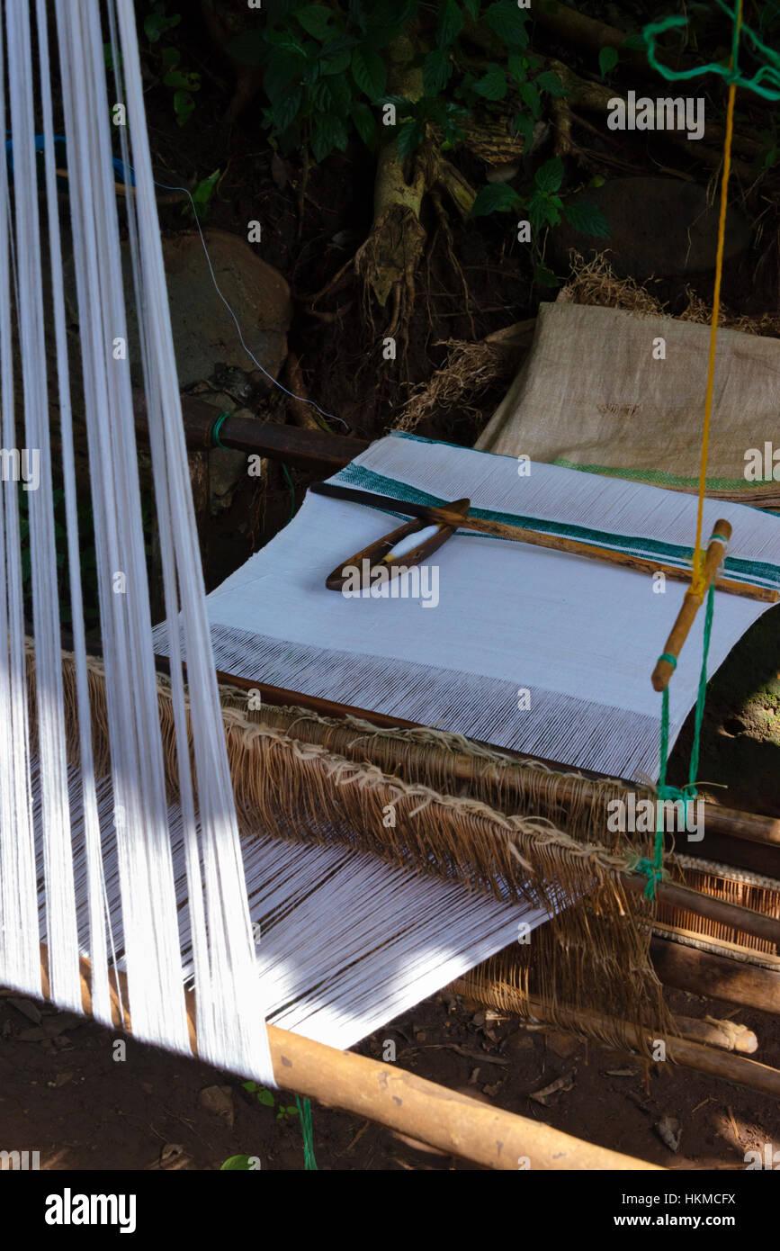Loom weaving textile, Zege peninsula in Lake Tana, Bahir Dar, Ethiopia - Stock Image