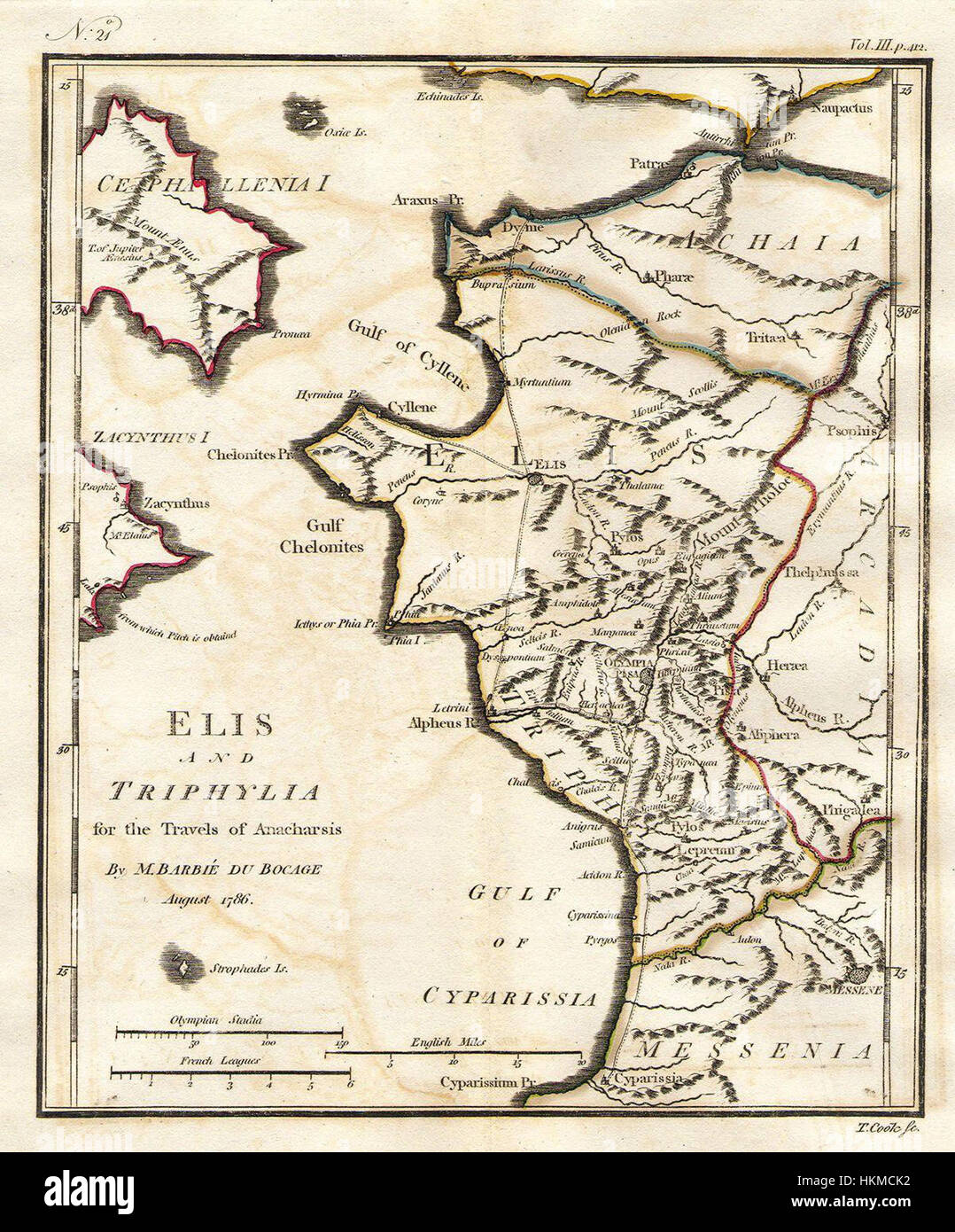 1786 Bocage Map Of Elis And Triphylia In Ancient Greece Olympia And
