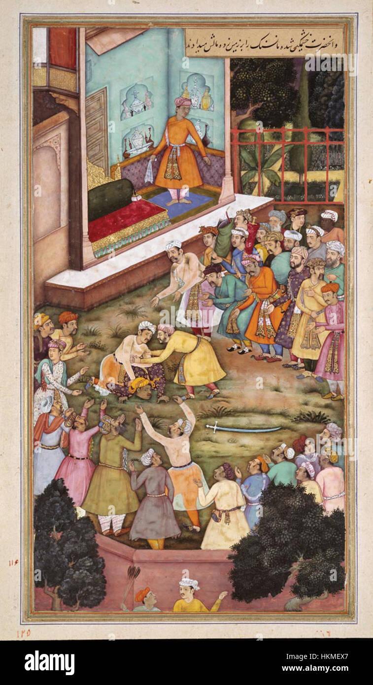 Akbar Fights with Raja Man Singh - Stock Image