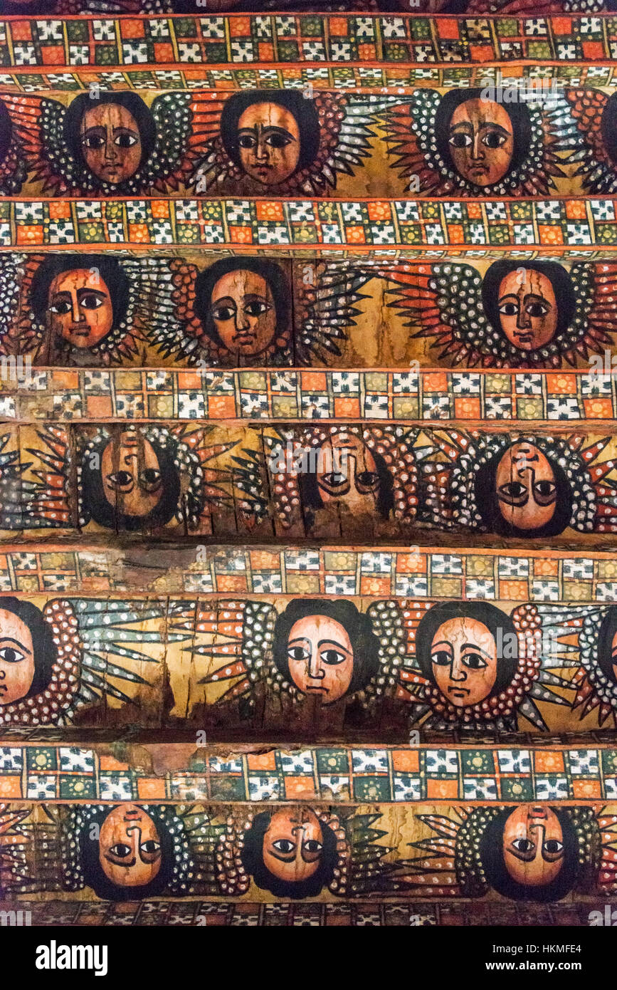 Ceiling painted with angel face, Church of Debre Birhan Selassie (Trinity and Mountain Light), Gondar, Ethiopia - Stock Image