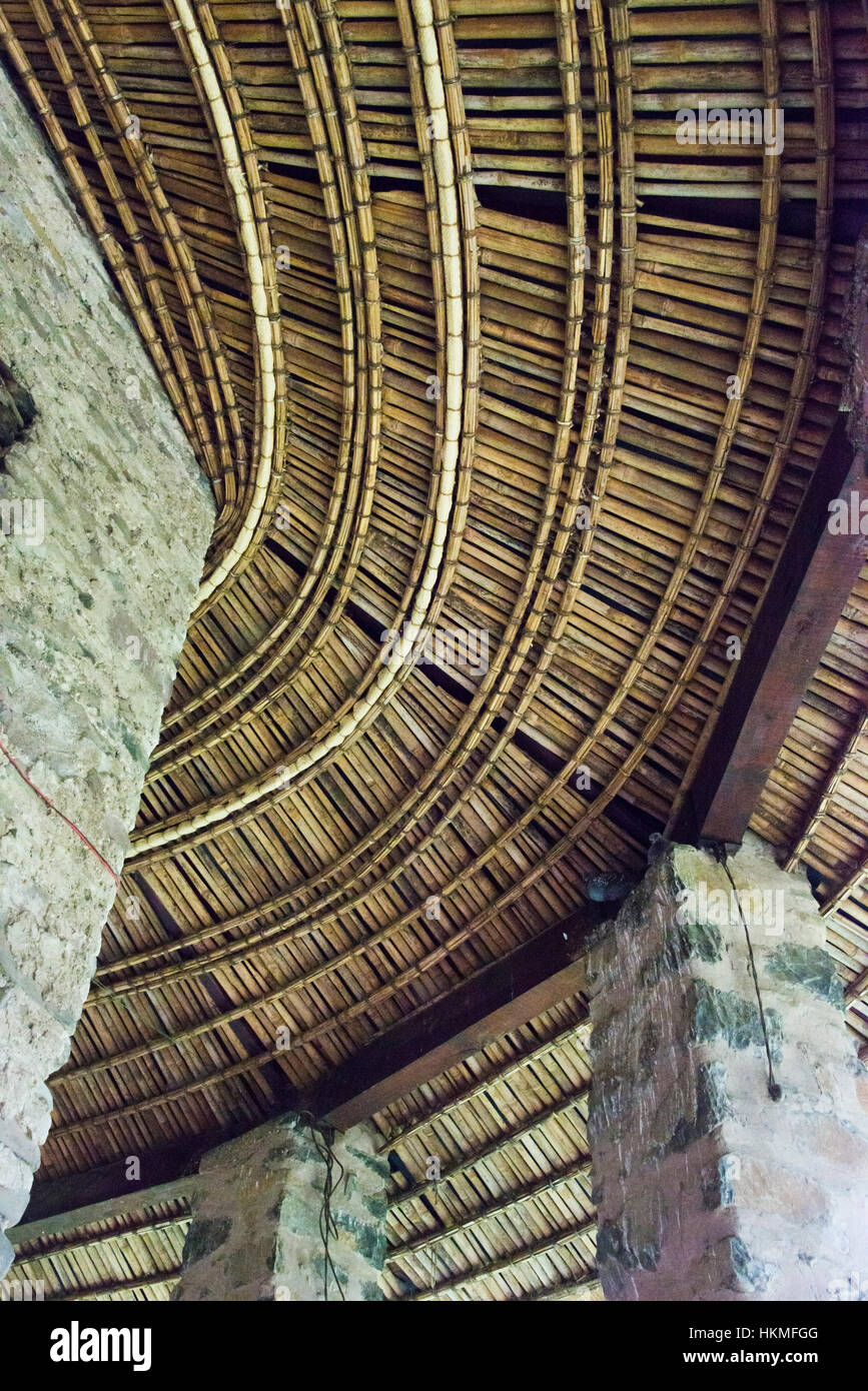 Ceiling inside Church of Debre Birhan Selassie (Trinity and Mountain Light), Gondar, Ethiopia - Stock Image