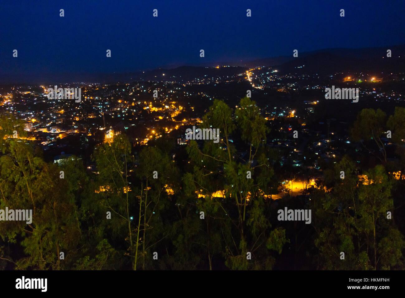 Night view of illuminated Gondar, Ethiopia - Stock Image