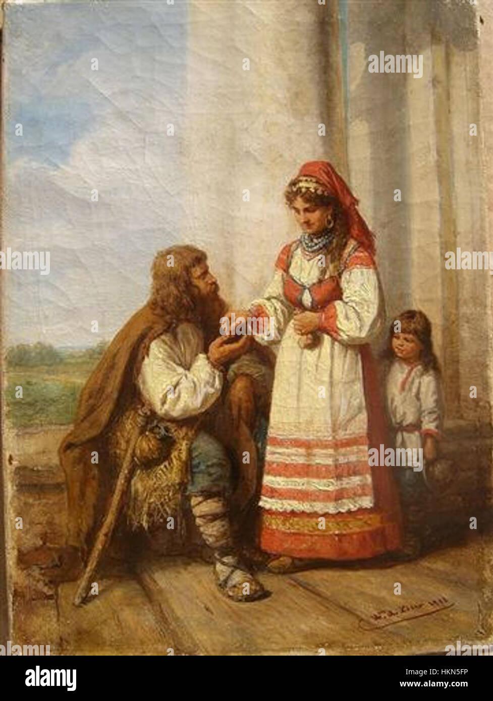 Beer Das Almosen 1883 - Stock Image