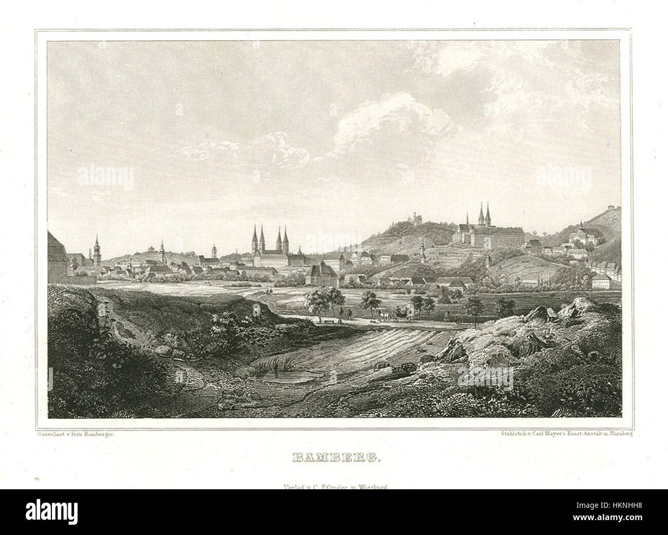 Bamberg Stahlstich 1847 - Stock Image
