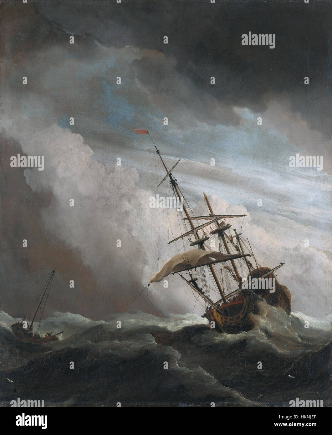 De Windstoot - A ship in need in a raging storm (Willem van de Velde II, 1707) Stock Photo