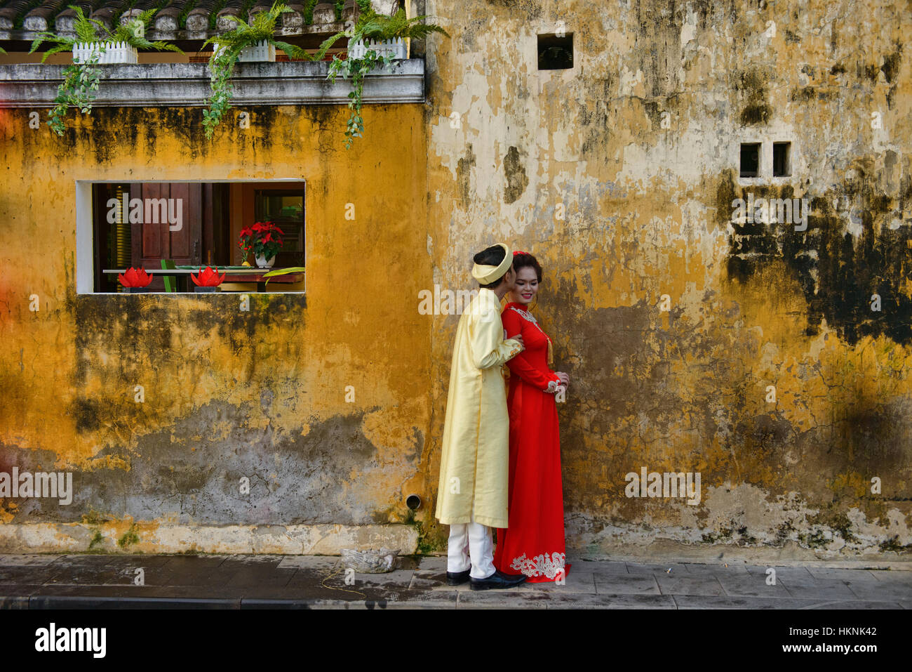 Marital bliss in old town Hoi An, Vietnam - Stock Image