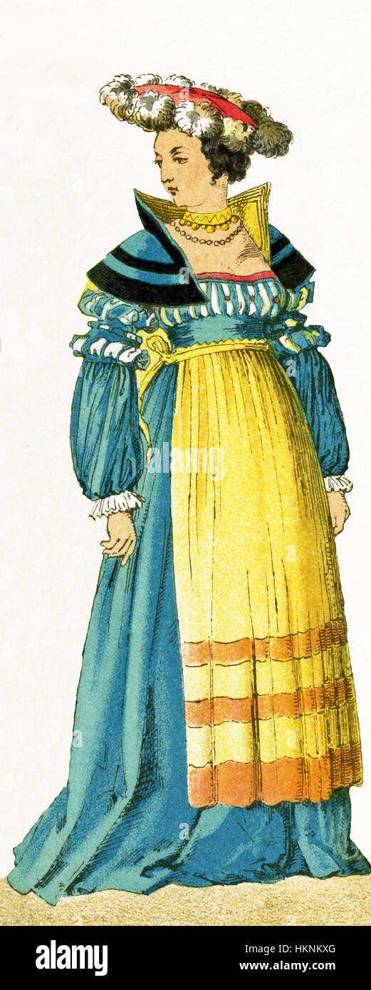 The woman represented here is German and dates to 1500-1550. The illustration dates to 1882. - Stock Image