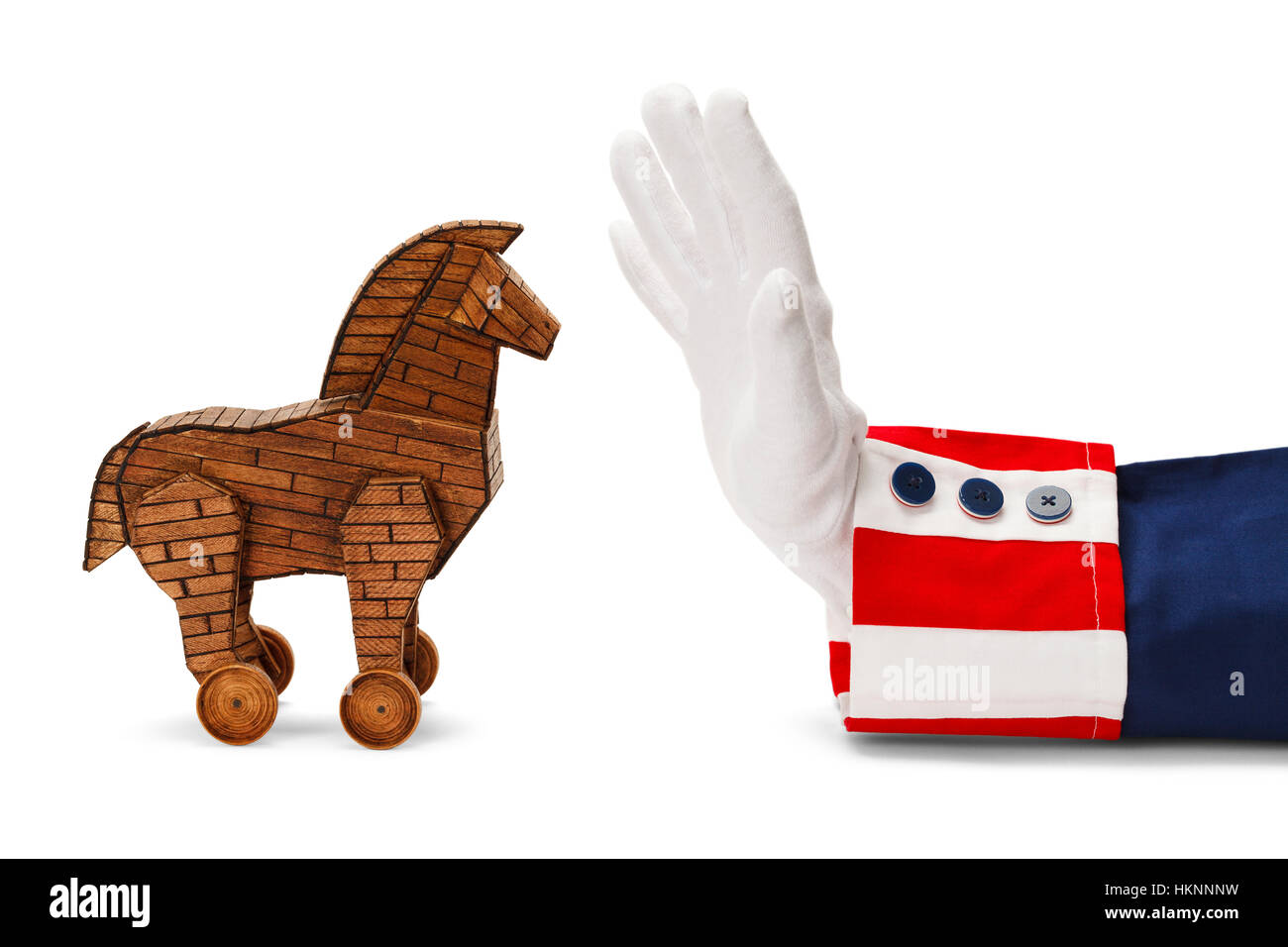 President Stopping Trojan Horse Isolated on White. Stock Photo