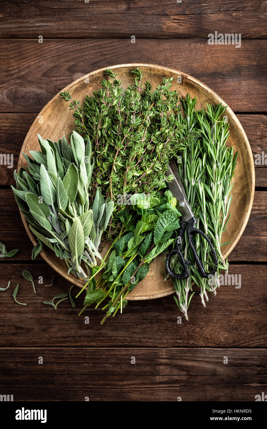 various fresh herbs, rosemary, thyme, mint and sage on wooden background - Stock Image