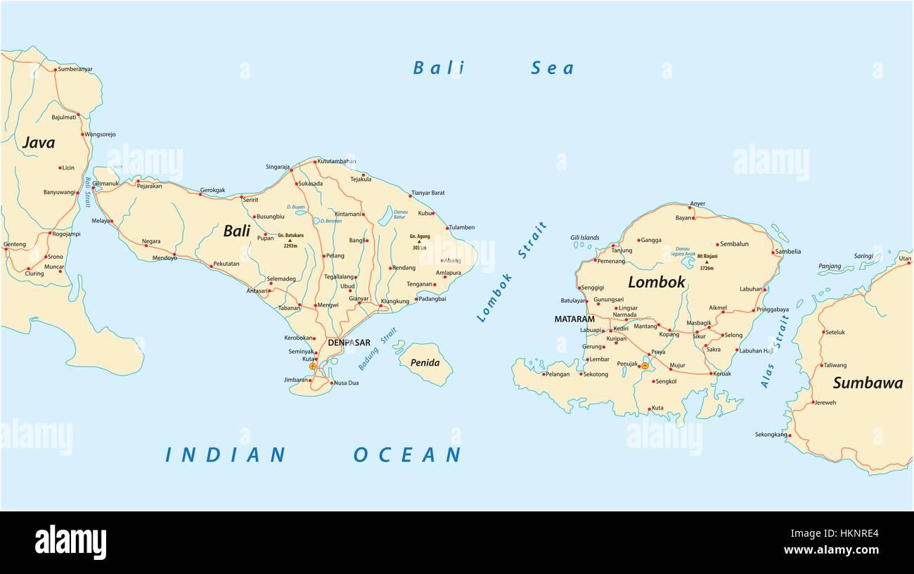 Carte De Bali Et Lombok.Vector Road Map Of Indonesian Lesser Sunda Islands Bali And