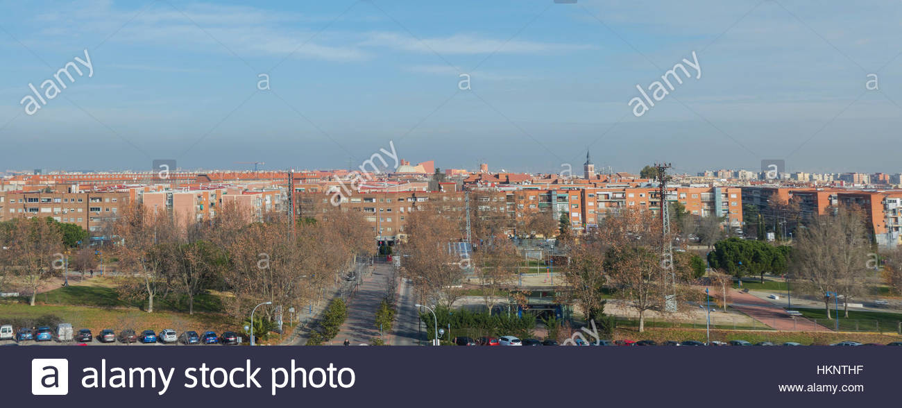Panoramic view of the city of Leganes. Leganes is a famous satellite city in the southwest of Madrid - Stock Image