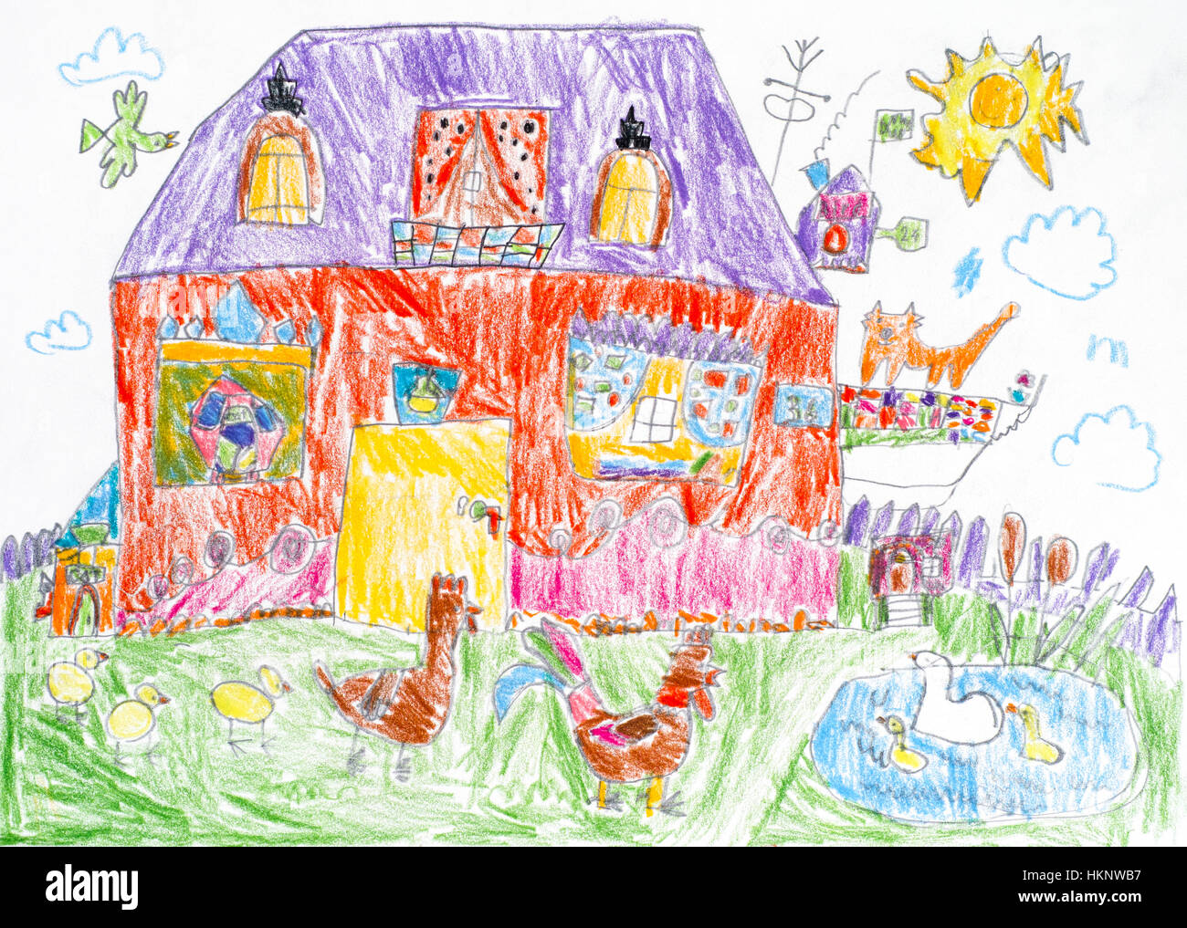 Child pencil drawing. House with red cat on the balcony and back yard with poultry. - Stock Image