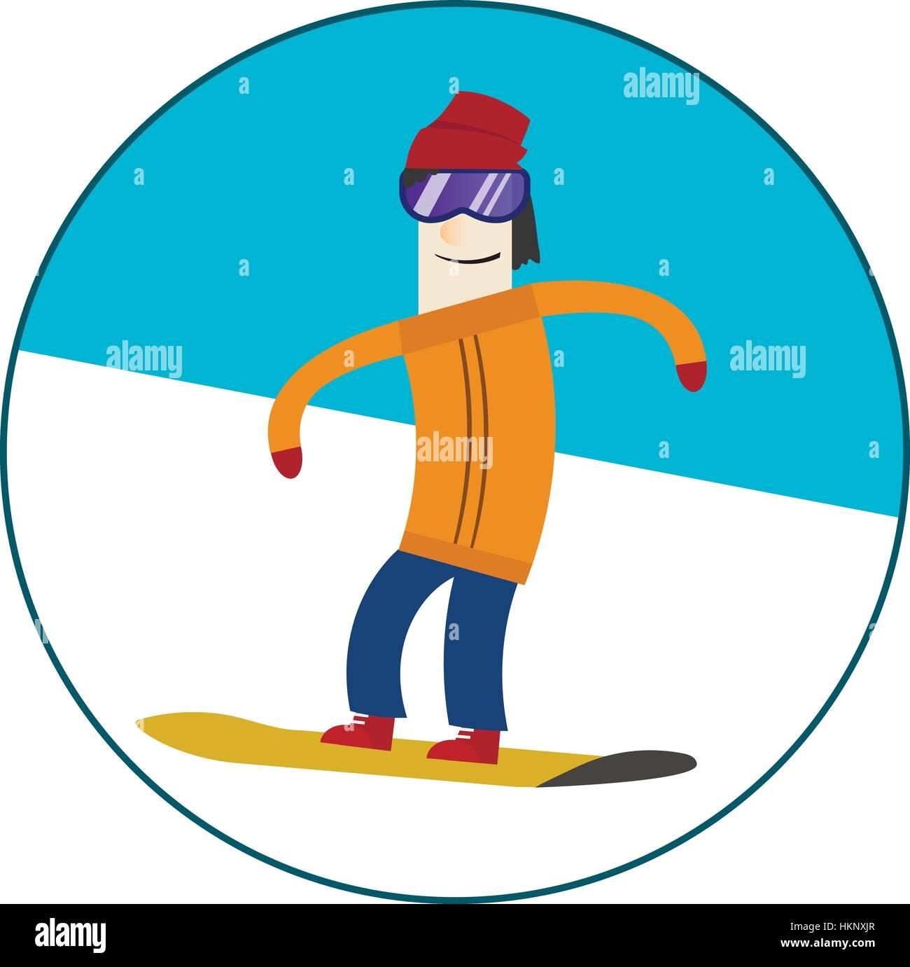 Man riding on a snowboard Stock Vector