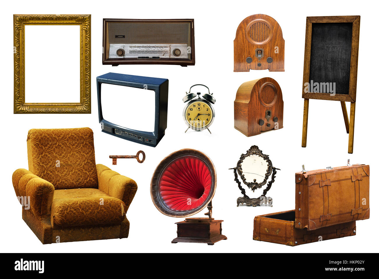 Collection of vintage retro home related objects isolated on white background - picture frame, radio device, armchair, - Stock Image