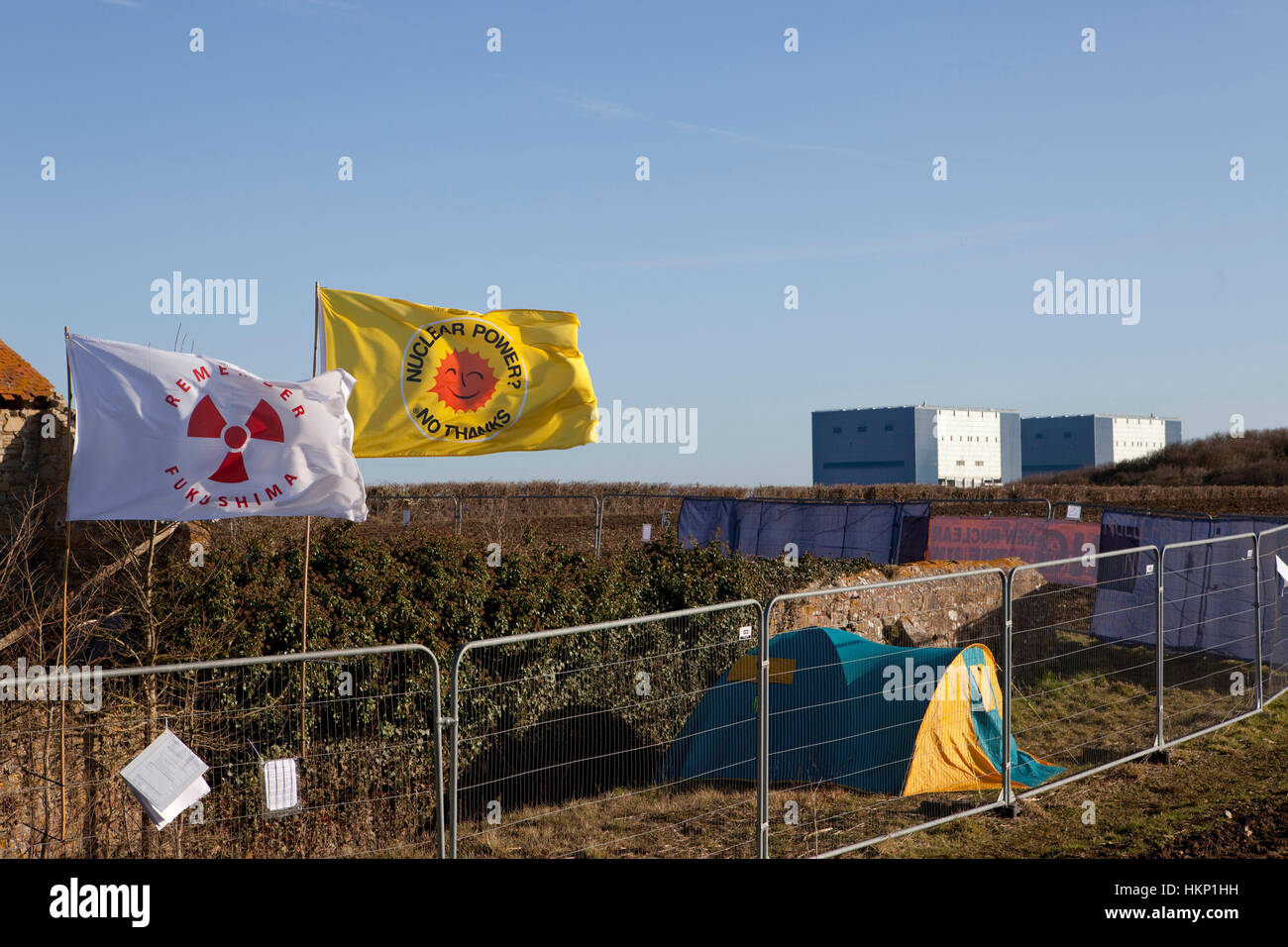 Anti nuclear protest at Hinkley Point north Somerset . Protesters have occupied a  farmhouse as EDF clear the land - Stock Image