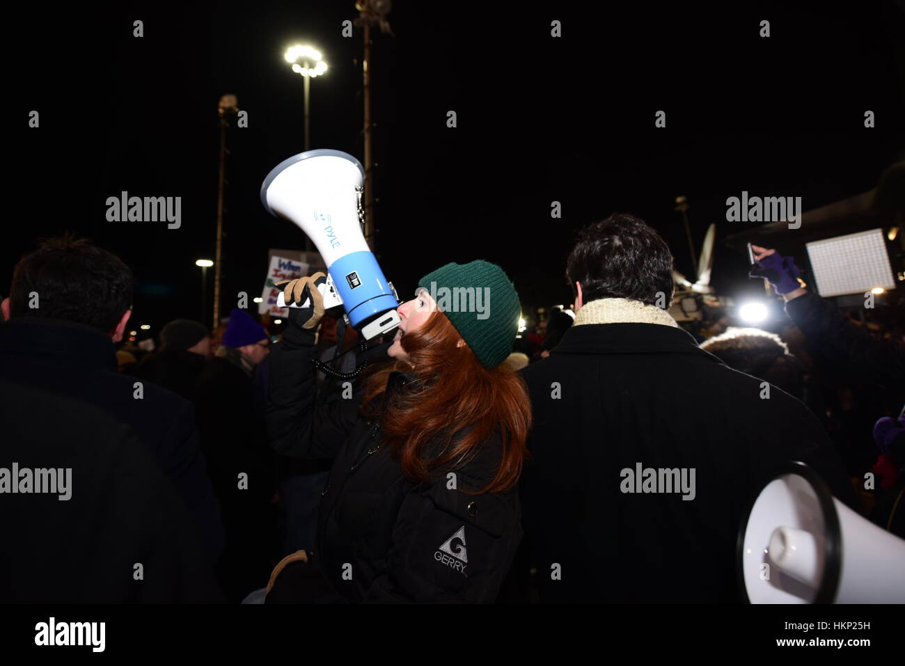New York City, United States. 28th Jan, 2017. Thousands gathered at Terminal Four at JFK Airport to protest the Stock Photo