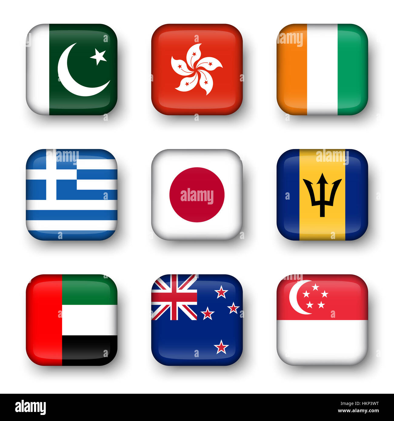 Set of world flags quadrangular badges ( Pakistan . Hong kong . Ivory Coast . Greece . Japan . Barbados . UAE . Stock Photo