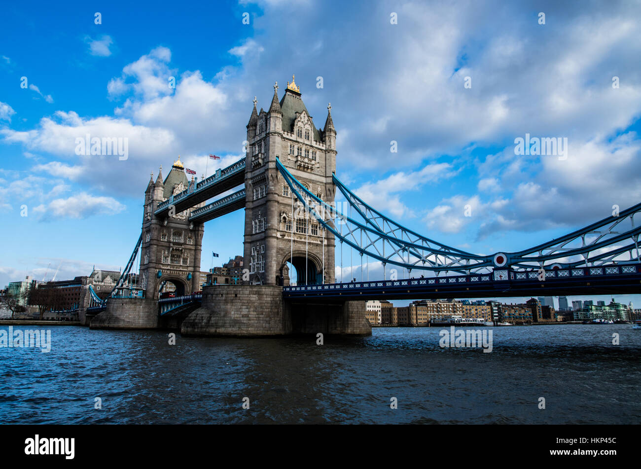 The iconic Tower Bridge with his great profile against the blu sunny sky in winter. - Stock Image
