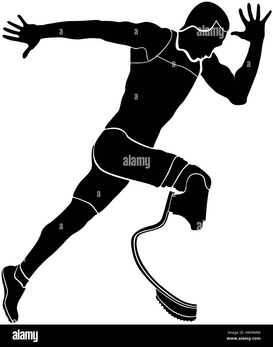 explosive runner athlete disabled amputee black silhouette - Stock Image