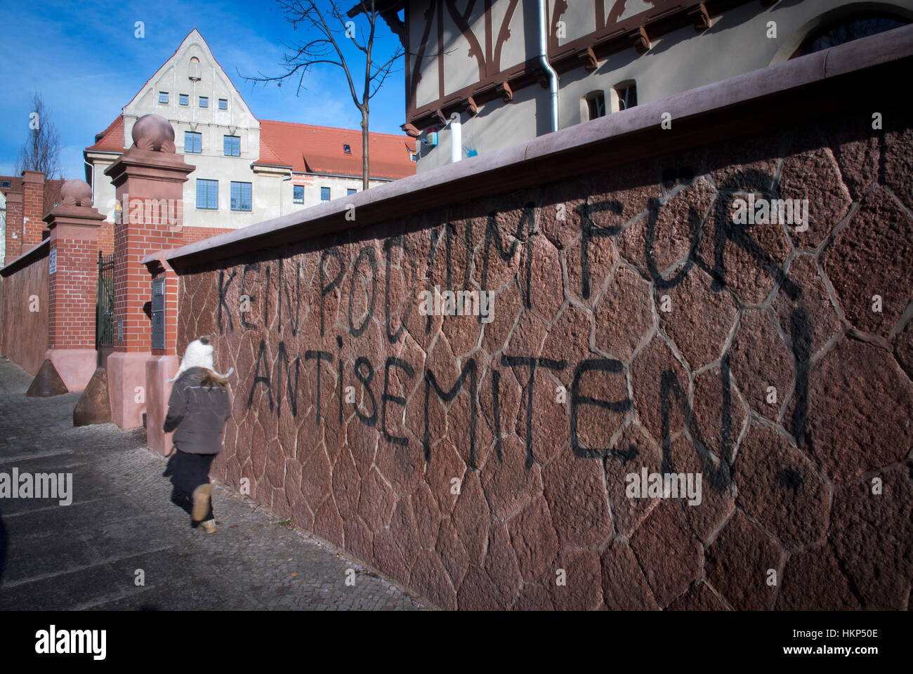 Against Antisemitism graffiti outside the Max Planck Institute in Halle during Prof Norman Finkelstein lecture. - Stock Image