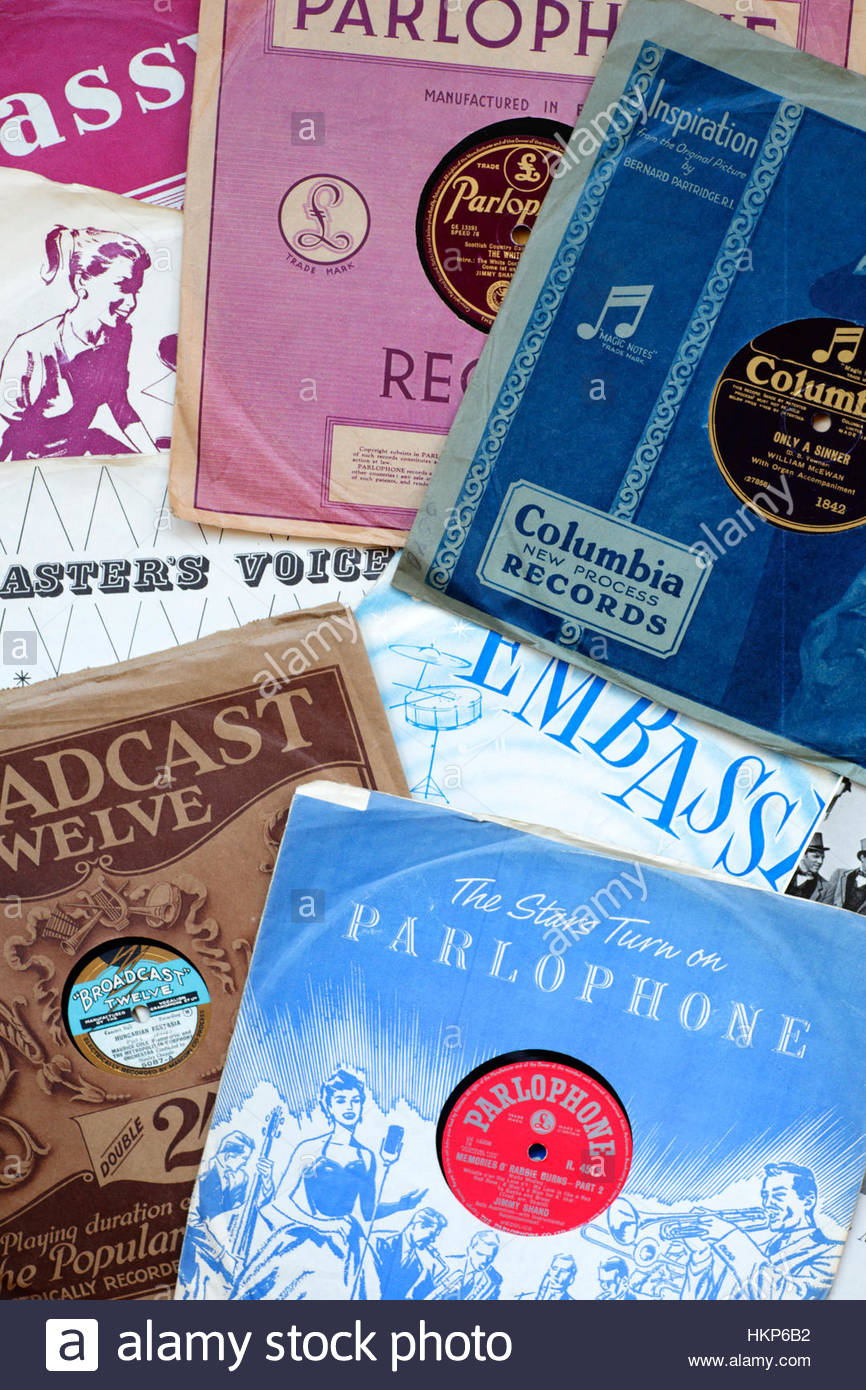 Old 78rpm gramophone records and sleeves Stock Photo