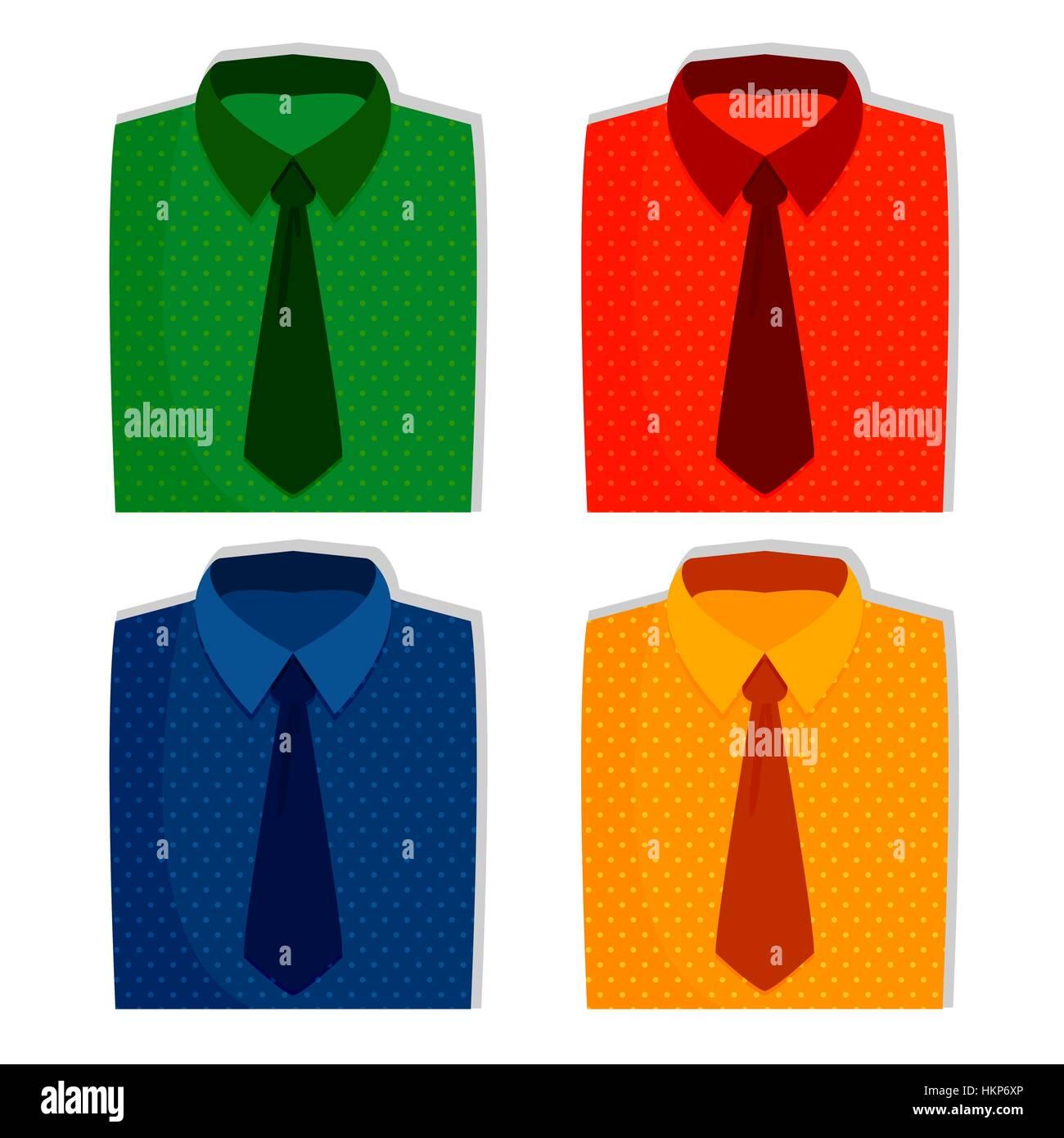 207babcc13d Shirts set, mens fashion illustration. Vector line icons of folded ...