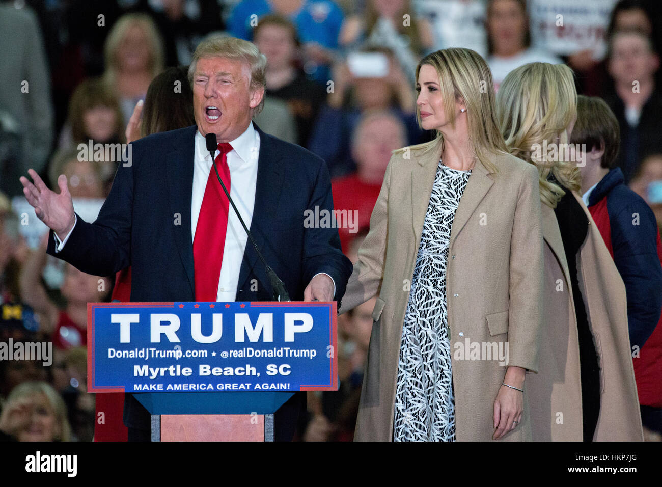 Republican presidential candidate billionaire Donald Trump introduces his daughter Ivanka Trump during a campaign - Stock Image