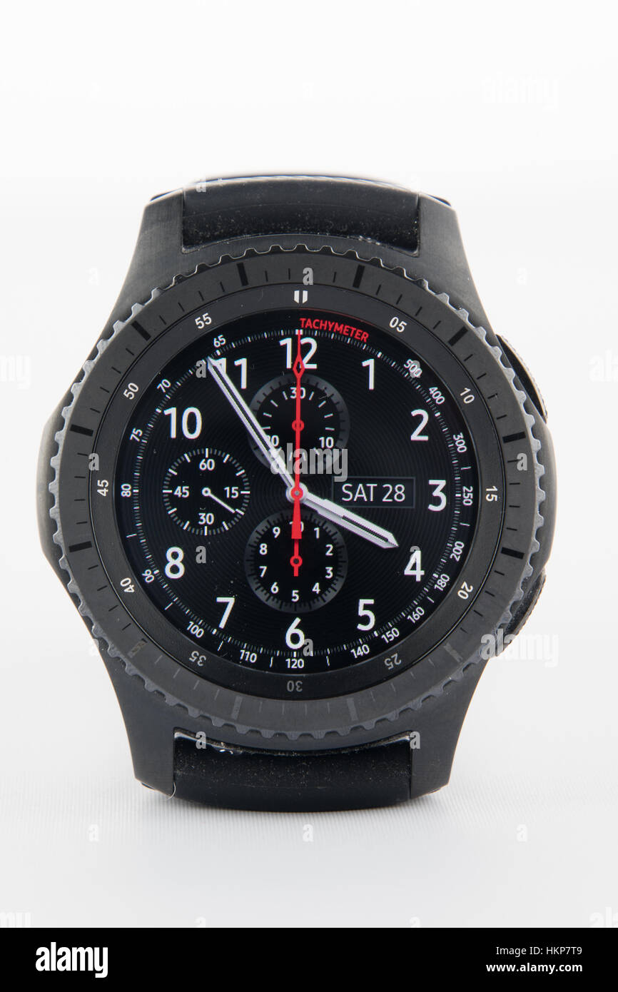 CHESTER, UK - January 28, 2017: Samsung Gear S3 smartwatch showing the watch face - Stock Image