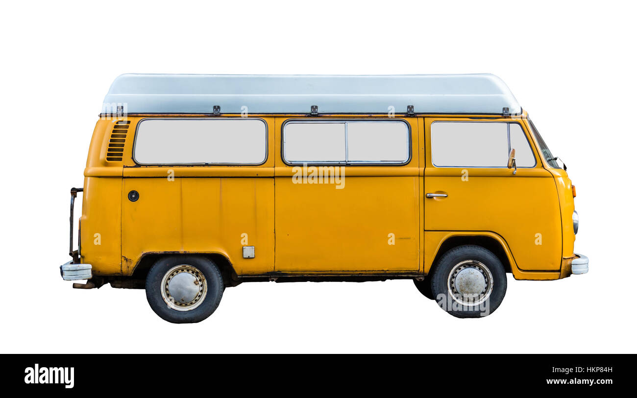 Grungy 70s Style Retro Vintage Campervan - Stock Image