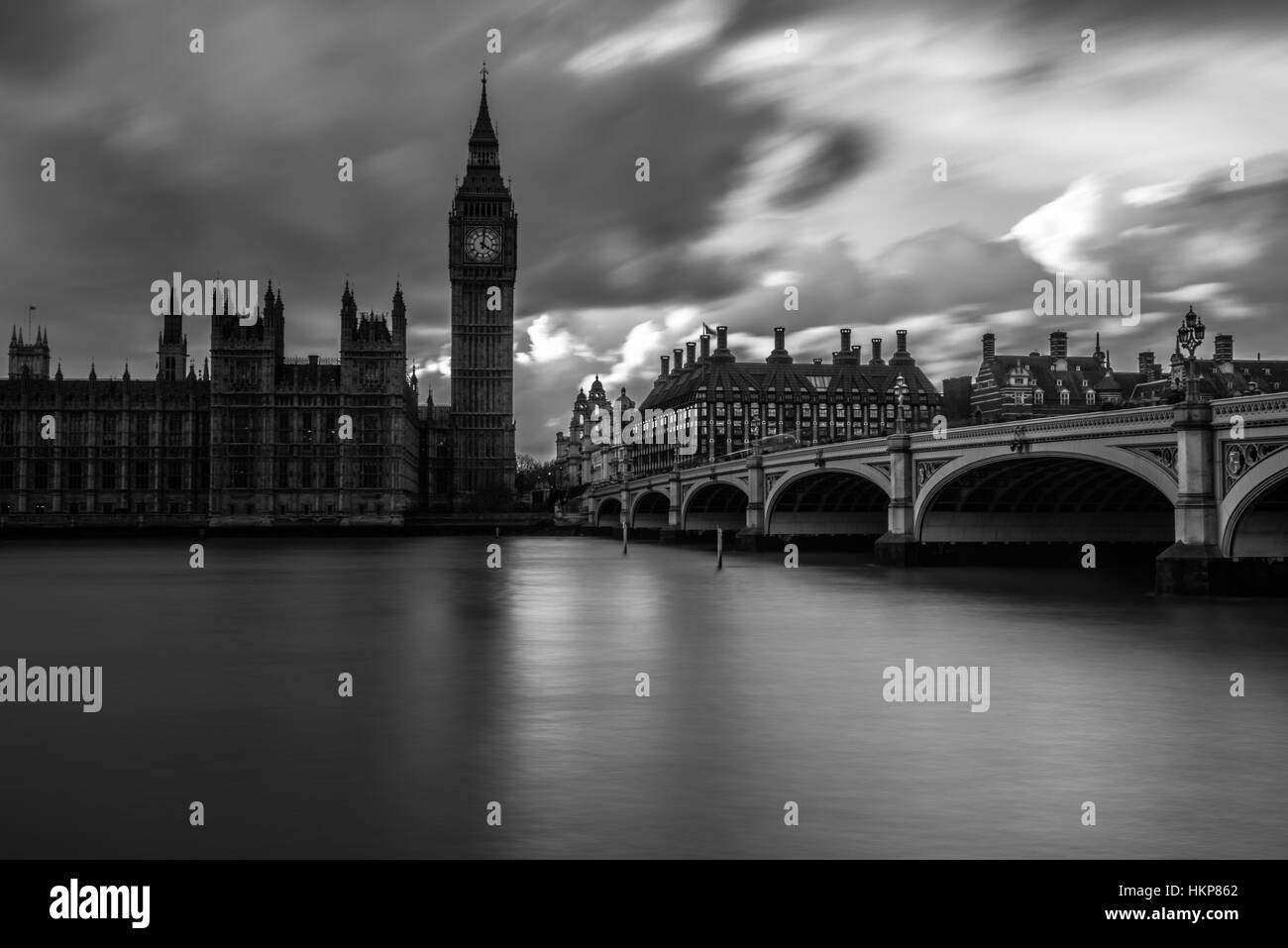 Big Ben and Westminster bridge in black and white - Stock Image