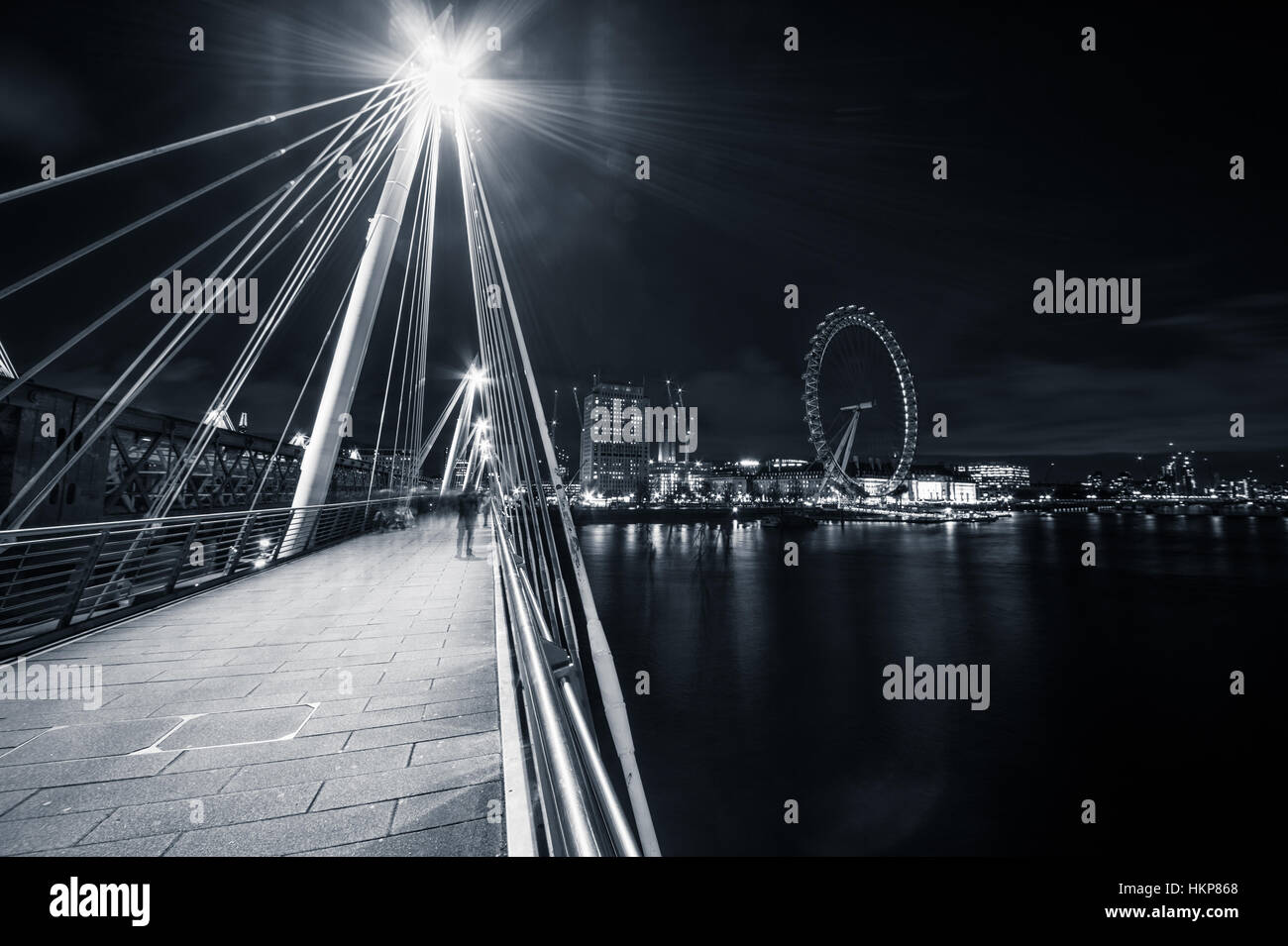 View of the London eye from the golden Jubilee bridge. - Stock Image