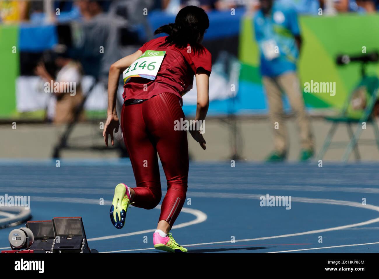 Rio de Janeiro, Brazil. 13 August 2016.  Athletics, Women  starting 400m  heats at the 2016 Olympic Summer Games. - Stock Image