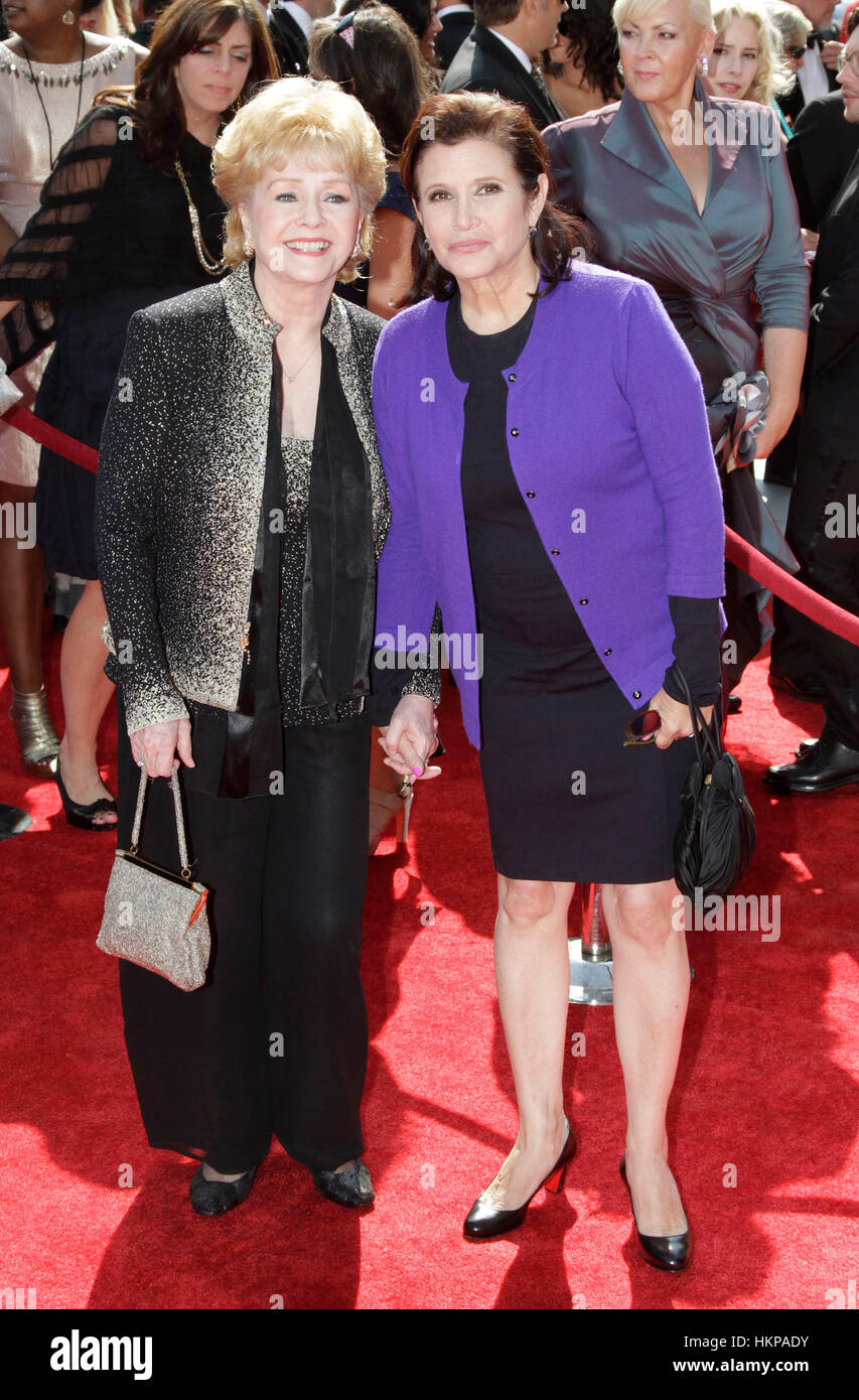 Debbie Reynolds and Carrie Fisher arrive for the 2011 Primetime Creative Arts Emmy Awards in Los Angeles, California - Stock Image