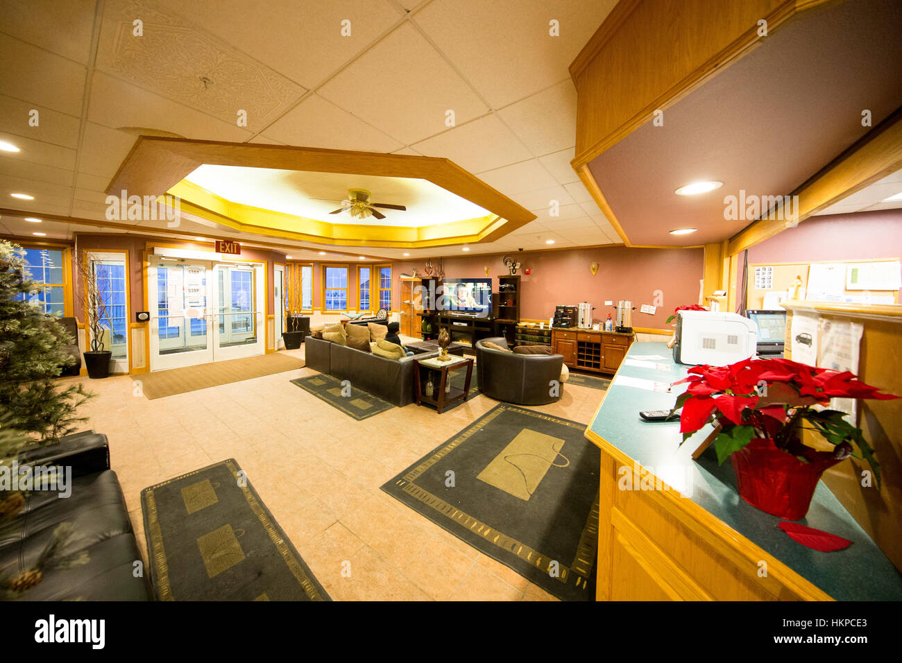 Aurora Inn lobby in Nome Alaska. The Nome Gold Rush was a gold rush in Nome, Alaska, approximately 1899–1909. It - Stock Image