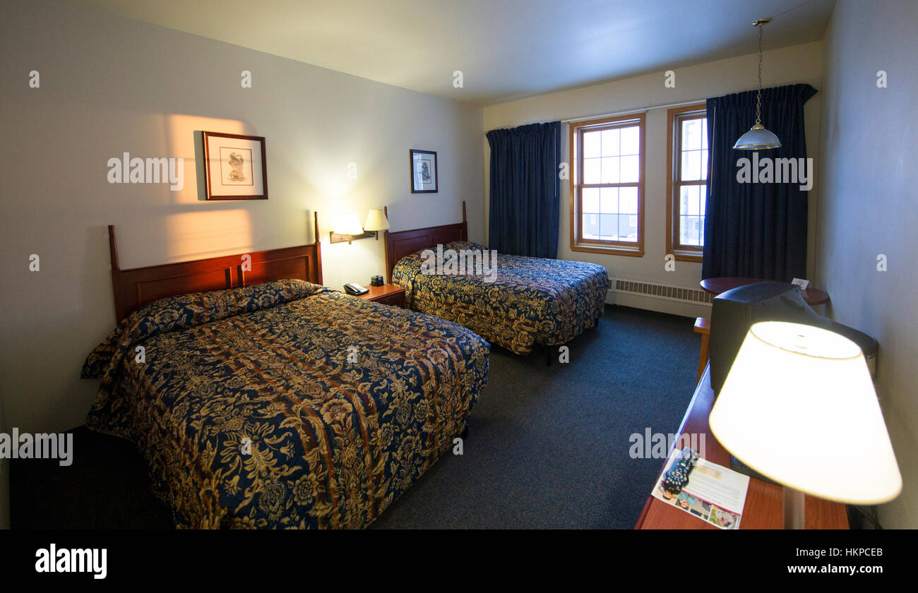 Aurora Inn hotel room 210 in Nome Alaska. The Nome Gold Rush was a gold rush in Nome, Alaska, approximately 1899–1909. - Stock Image