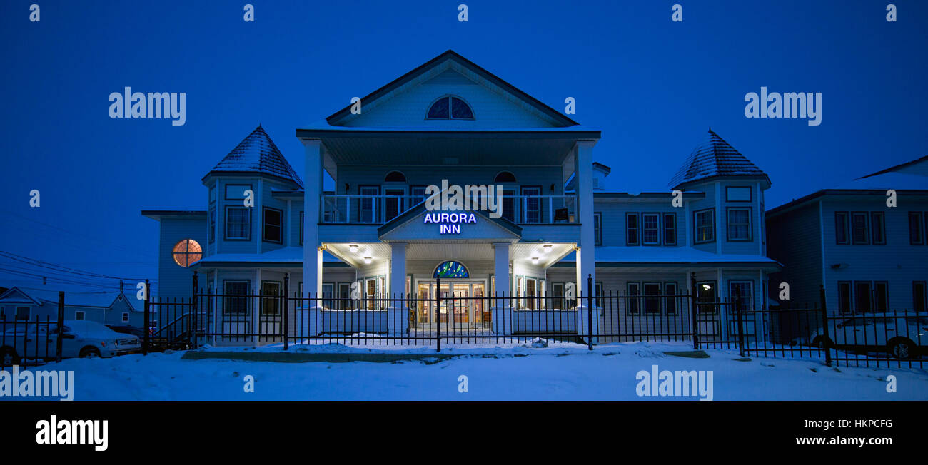 Aurora Inn on Front Street in Nome Alaska. The Nome Gold Rush was a gold rush in Nome, Alaska, approximately 1899–1909. - Stock Image