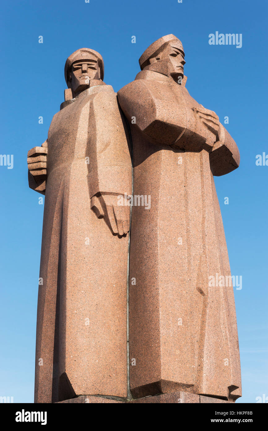 The monument to the Latvian Riflemen (Latviesu strelnieki) was built in 1970, Riga, Latvia, Baltic States, Europe - Stock Image