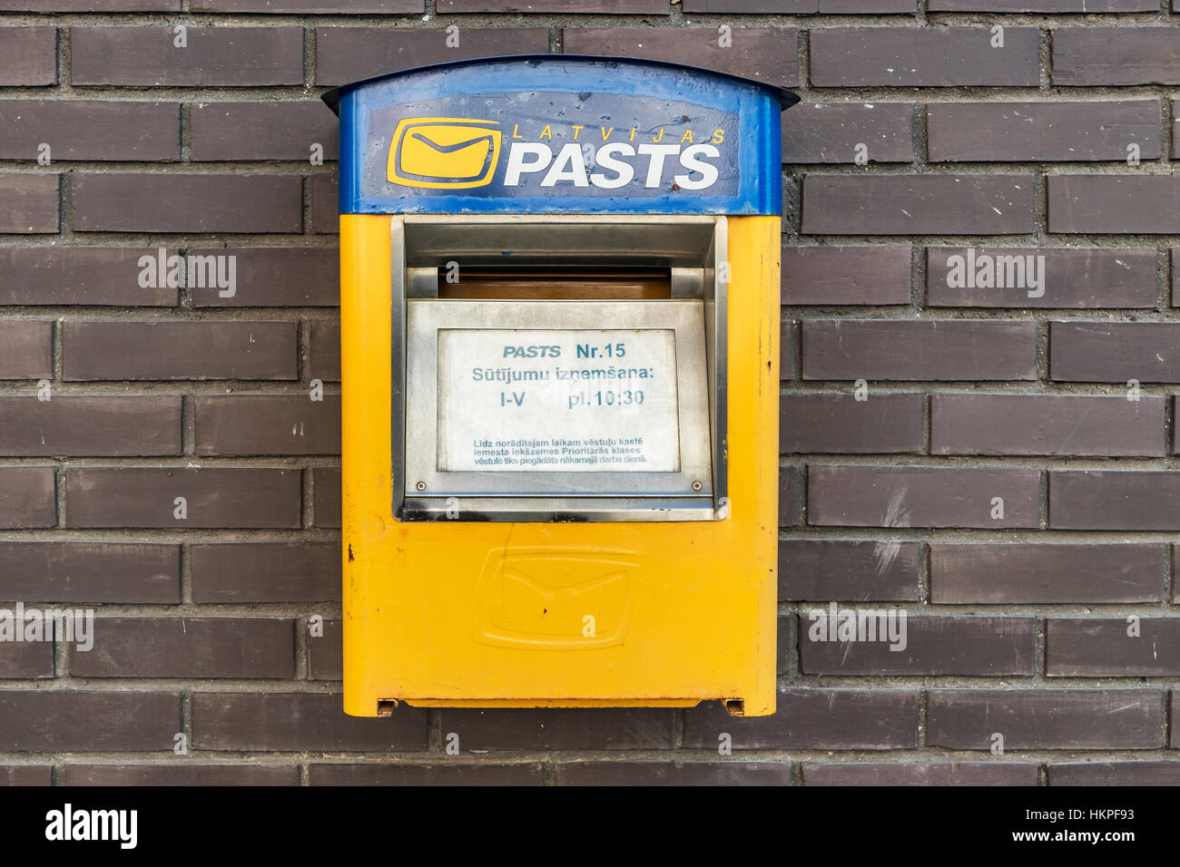 Detail photo of a Latvian mailbox, Latvia, Baltic States, Europe - Stock Image