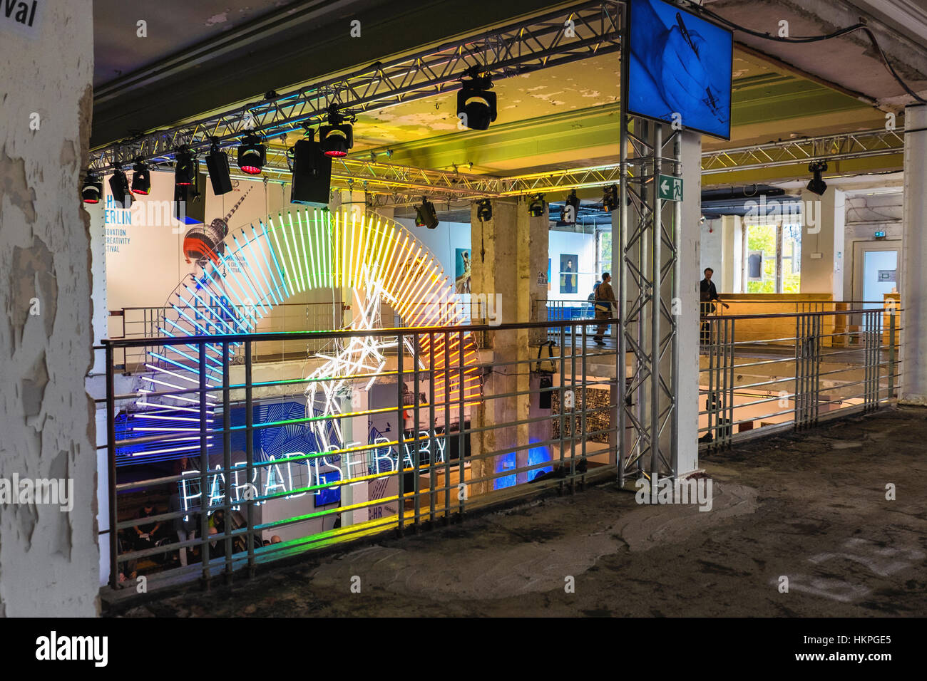 Berlin Mitte. Paradise Baby Neon sign at C-HR Innovation and Creativity Festival in  historic Kaufhaus Jahndorf - Stock Image